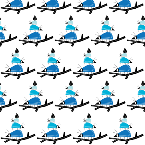 Balancing beetles in blue. Large. fabric by halfpinthome on Spoonflower - custom fabric