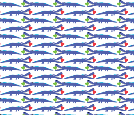 alligator love blue - large fabric by andibird on Spoonflower - custom fabric