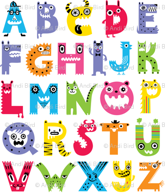 alphabet monster pattern fabric andibird spoonflower