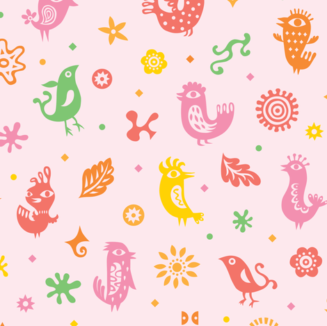 birds of flight - pink fabric by andibird on Spoonflower - custom fabric