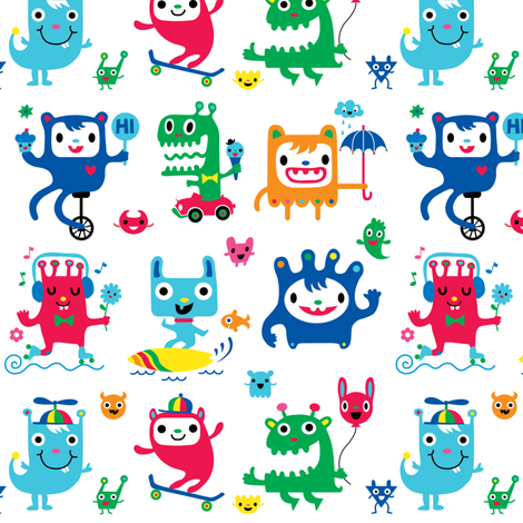 monster love fabric by andibird on Spoonflower - custom fabric