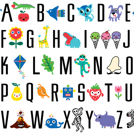 sweet alphabet pattern fabric by andibird on Spoonflower - custom fabric