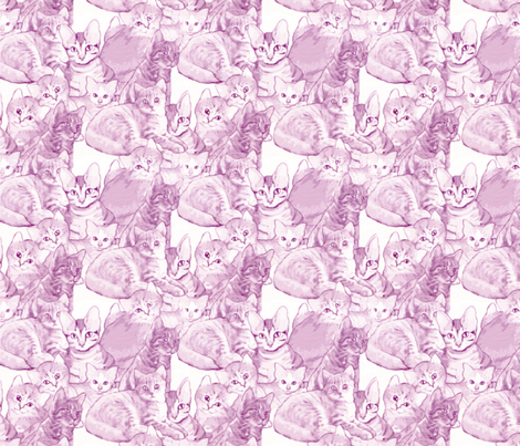 Kittens in Pink fabric by dogdaze_ on Spoonflower - custom fabric