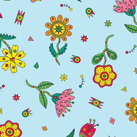 Decorative Flowers blue fabric by andibird on Spoonflower - custom fabric