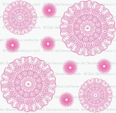 ruffled spirals in pink