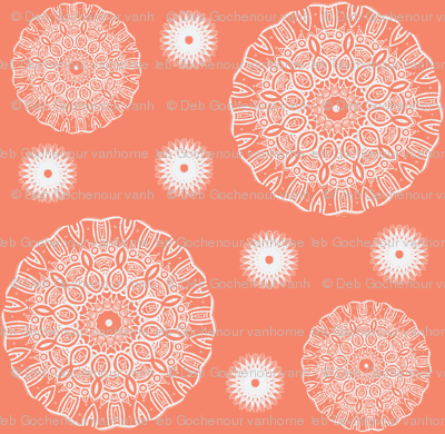 ruffled spirals in peach-ch
