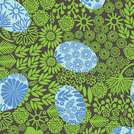 Painted Blue Eggs fabric by jeannemcgee on Spoonflower - custom fabric