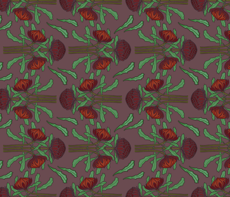 Darker waratahs, railroad repeat by Su_G fabric by su_g on Spoonflower - custom fabric