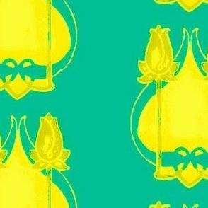 Art Nouveau38-teal/yellow