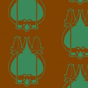 Art Nouveau38-brown/green