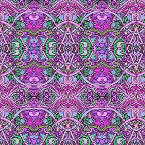 Easter Egg Hunt (a purple and green coloring book style abstract)