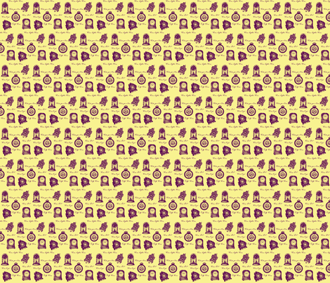 Time Clocks (purple/gold) fabric by ravynscache on Spoonflower - custom fabric