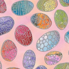 Painted Eggs with Silver