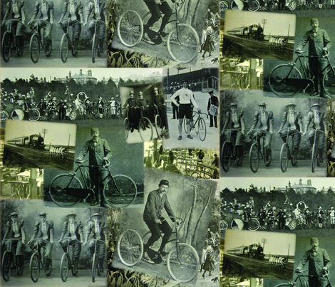 Victorian Bicycling: Large  fabric by callioperosehandcarjones on Spoonflower - custom fabric