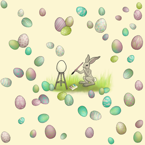 Bunny Egg Artist fabric by glindabunny on Spoonflower - custom fabric