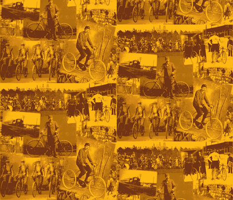 Victorian Bicycling: Medium Gold fabric by callioperosehandcarjones on Spoonflower - custom fabric