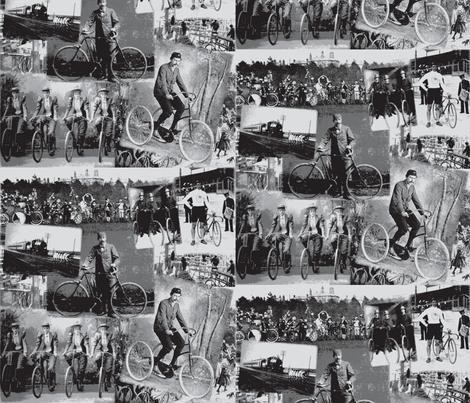 Victorian Bicycling: Medium Grey fabric by callioperosehandcarjones on Spoonflower - custom fabric