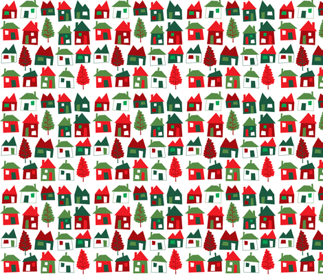 christmas houses fabric by laurawrightstudio on Spoonflower - custom fabric