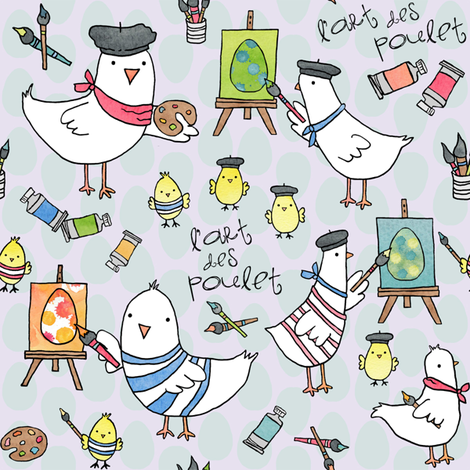l'art des poulet! (light egg backround) fabric by pattyryboltdesigns on Spoonflower - custom fabric