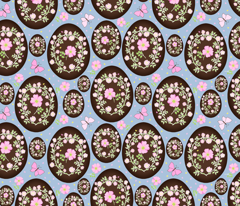 Sweet Eglantine on Chocolate Easter Eggs - Large Scale fabric by rhondadesigns on Spoonflower - custom fabric