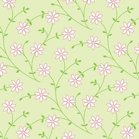 Daisy Vine light green fabric by jillbyers on Spoonflower - custom fabric