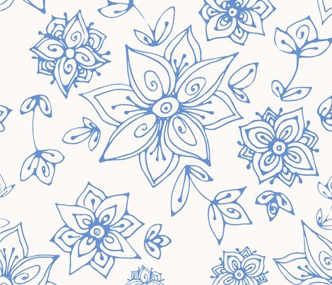 Blue hand painted flowers fabric by lena_sokol on Spoonflower - custom fabric