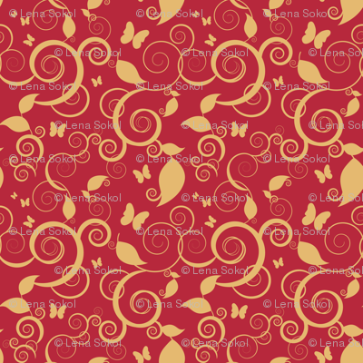 Floral spiral pattern with butterflies