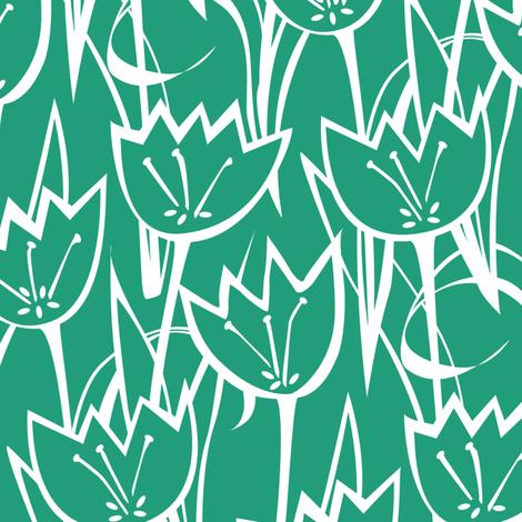 Tulips Emerald fabric by jillbyers on Spoonflower - custom fabric
