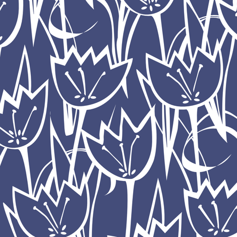 Tulips navy fabric by jillbyers on Spoonflower - custom fabric