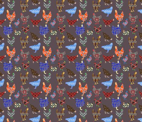 Pysanky chickens fabric by kjthoon on Spoonflower - custom fabric