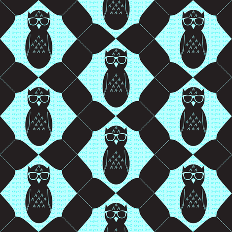 Geeky Owl Chevron fabric by spikymammal on Spoonflower - custom fabric