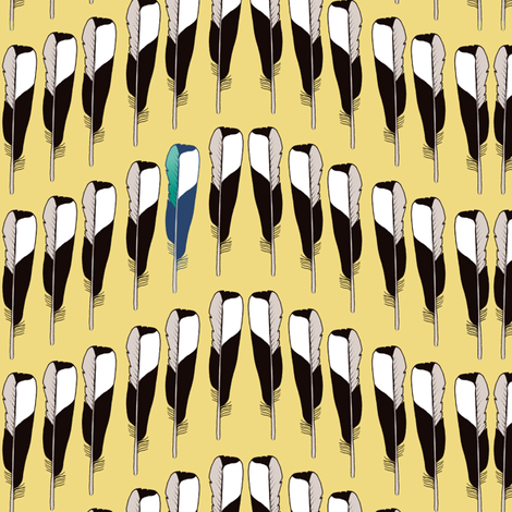 Magpie Feather Chevron Gold  fabric by creative_merritt on Spoonflower - custom fabric