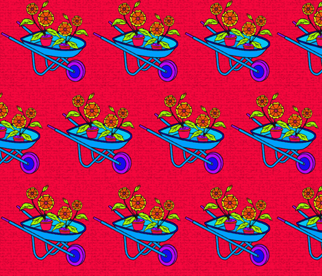 Blue Wheelbarrow fabric by mammajamma on Spoonflower - custom fabric