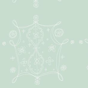 Whimsical Floral Lantern Pattern White