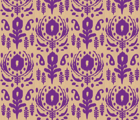 floral ikat - purple fabric by fable_design on Spoonflower - custom fabric