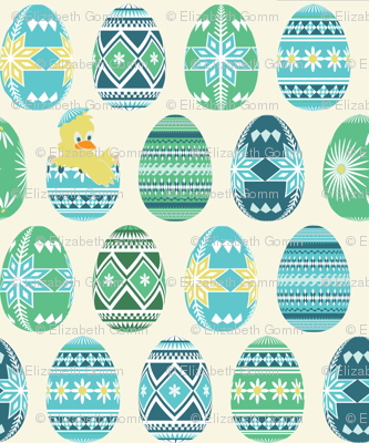Pysanky chick - blue and green