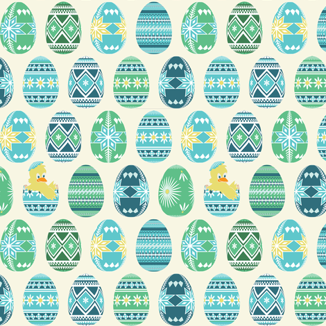 Pysanky chick - blue and green fabric by ebygomm on Spoonflower - custom fabric