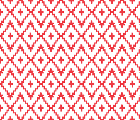 Southwest Diamonds Chevron - Red on White fabric by fable_design on Spoonflower - custom fabric
