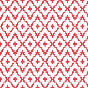 Southwest Diamonds Chevron - Red on White