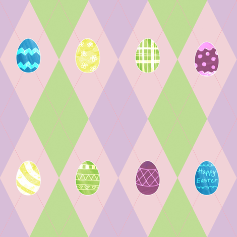 Easter Argyle with Painted Eggs fabric by empireruhl on Spoonflower - custom fabric