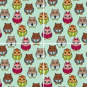 Owl family seamless
