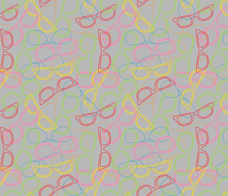 Sunglasses Outline Light Grey fabric by modgeek on Spoonflower - custom fabric