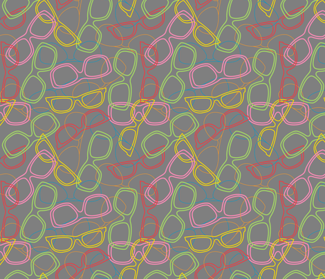 Sunglasses Outline Medium Grey fabric by modgeek on Spoonflower - custom fabric
