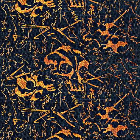 dem dry bones - black, orange, yellow, navy, Halloween fabric by materialsgirl on Spoonflower - custom fabric