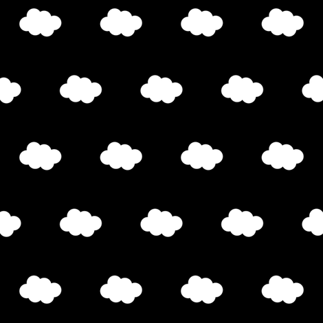 White cloud on black fabric by pencilmein on Spoonflower - custom fabric