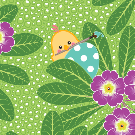 Along the Primrose Path - Painter Chick fabric by hootenannit on Spoonflower - custom fabric