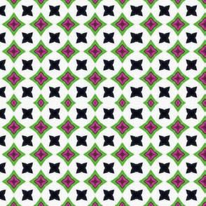 Greeny pink diamonds and black