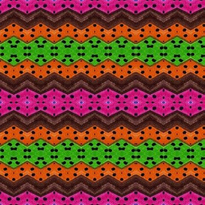 Dotted pink orange and green
