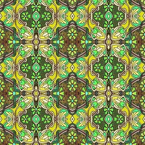 Retro Nouveau Bud and Bloom Patches (yellow)
