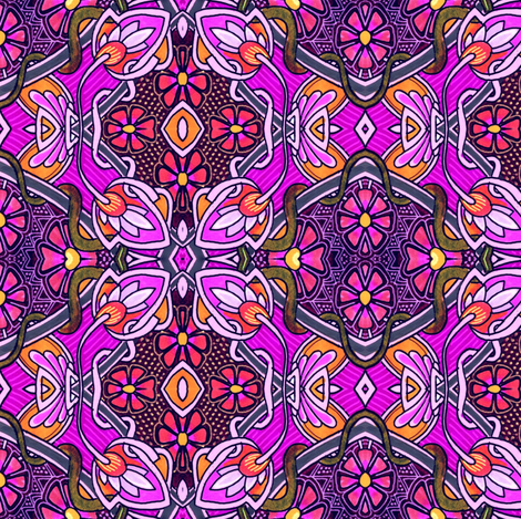 Pop Purple Posies Posing fabric by edsel2084 on Spoonflower - custom fabric